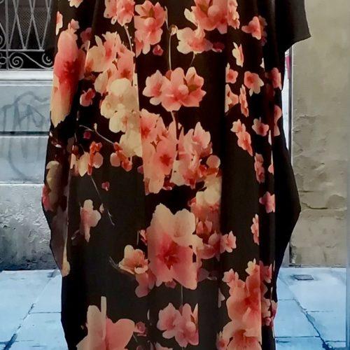 Long Caftan Black pink flowers
