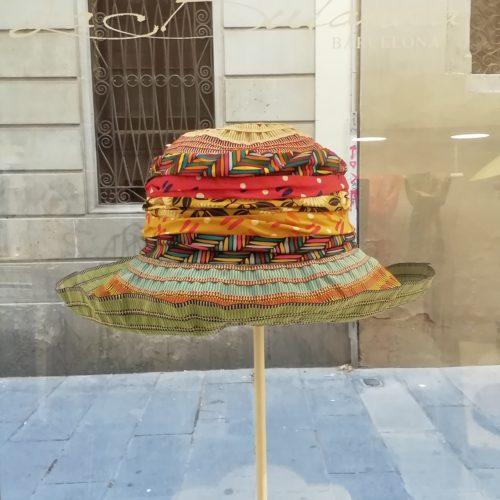 Handmade hat by Grevi. Foldable pamela, medium brim. Multicolor fabric.