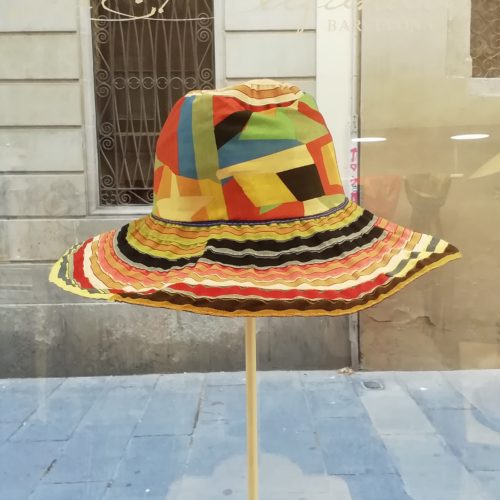 Handmade hat by Grevi. Foldable borsalino , big brim. Multicolor fabric