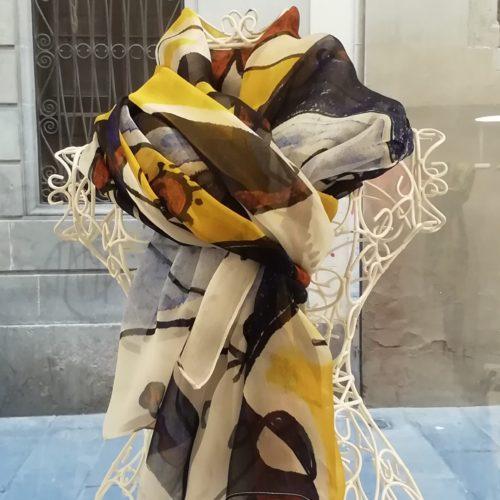 Silk organza scarf. Elegant design Miró inspiration