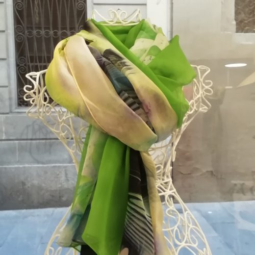 Silk organza scarf. Elegant design with acid colour green and black