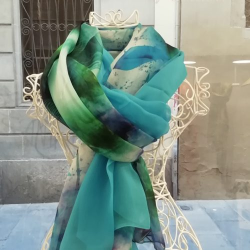 Silk organza scarf. Elegant design with acid colour blue and green