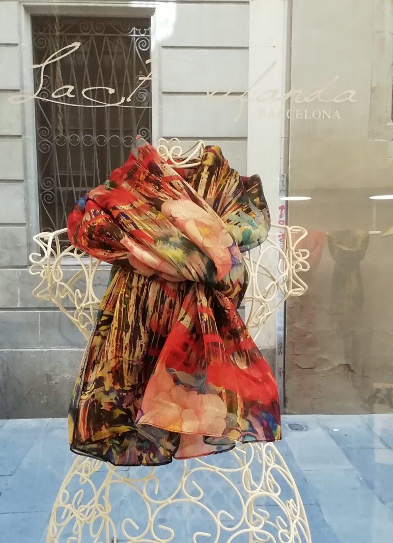Silk scarf. La Bufanda design. Multicolor flower print