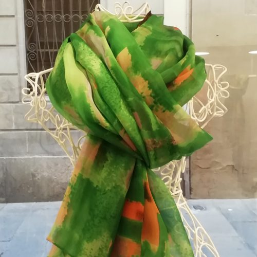 Silk scarf. La Bufanda design. Watercolors