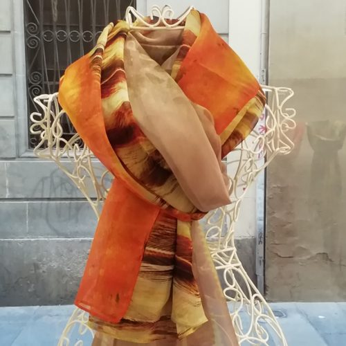 Silk scarf. La Bufanda design. Orange and brown