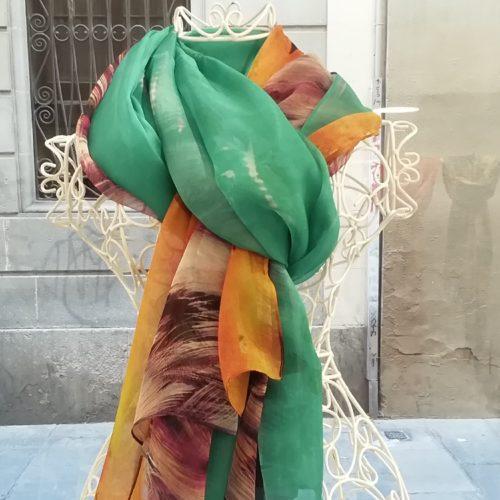 Silk scarf. La Bufanda design. Orange and green