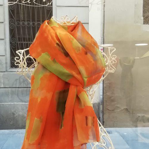 Silk scarf. La Bufanda design. Orange watercolors