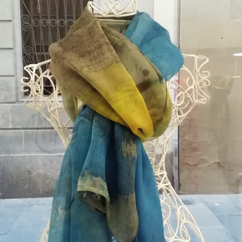 Silk organza scarf. Elegant design blue and yellow