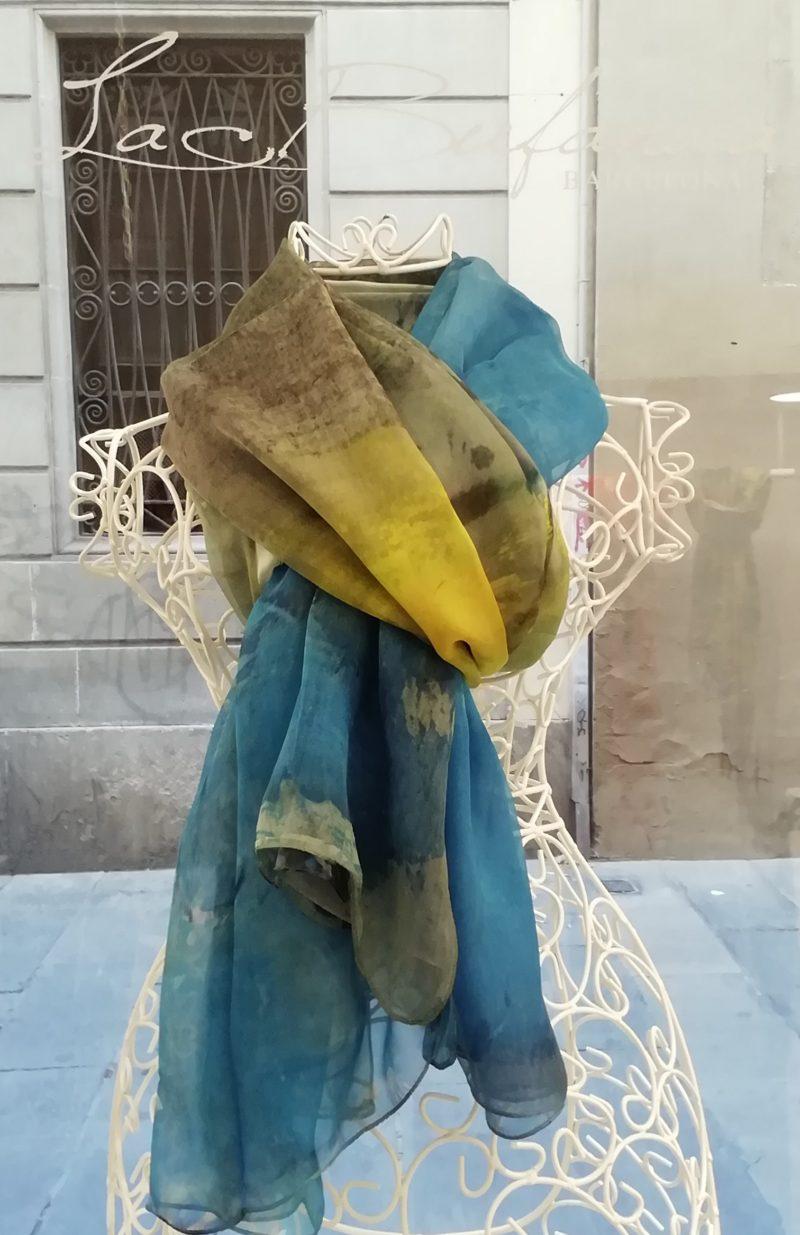 Silk organza scarf. Elegant design blue and yellow