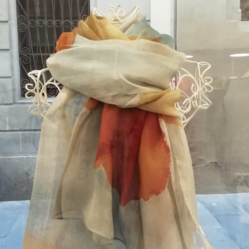 Silk organza scarf. Elegant watercolor design . Hot colours