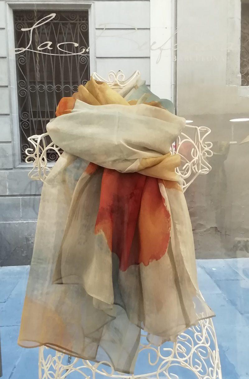 Silk organza scarf. Elegant watercolor design . Hot colours