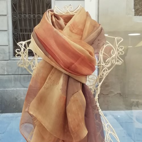 Silk organza scarf. Elegant watercolor design . Reds colours