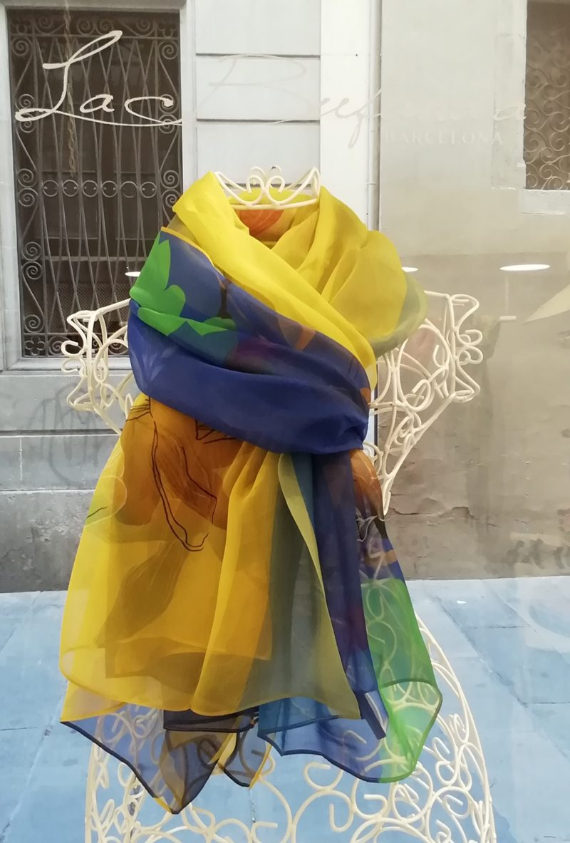 Silk organza scarf. Elegant design. Strong colours blue end yellow