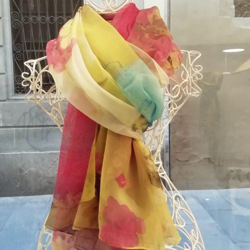Silk organza scarf. Elegant design watercolor style