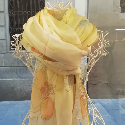 Silk organza scarf. Elegant design with flowes. Orange yellow pastel colours