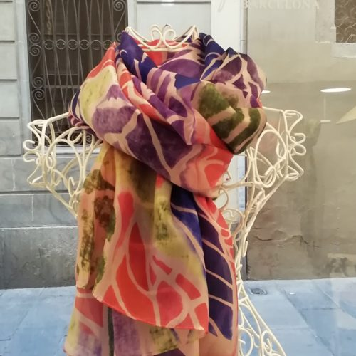 Silk scarf. La Bufanda design. Multicolor purple print
