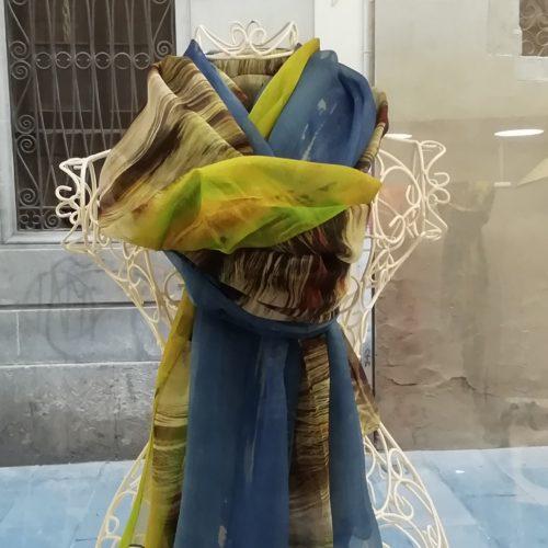 Silk scarf. La Bufanda design. Yellow and blue