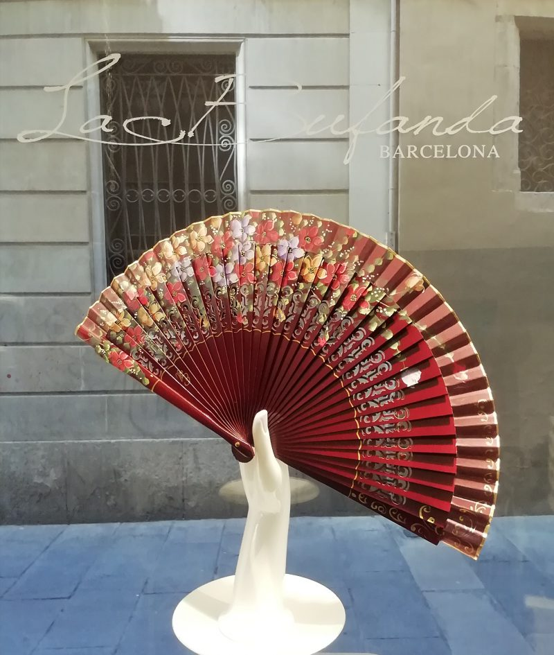 Malvi-handmade-fan-handpainted-flowes-garnet