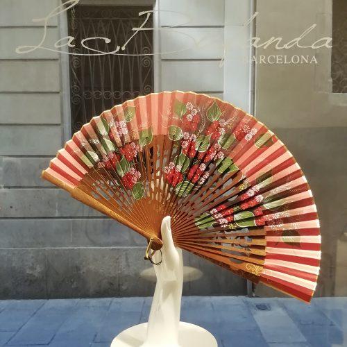 Malvi-handmade-fan-handpainted-flowes-palosanto