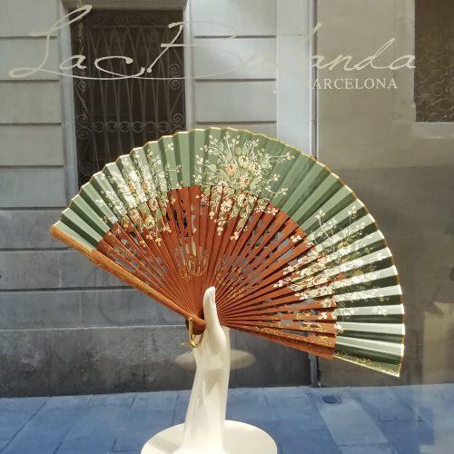 Malvi-handmade-fan-handpainted-flowes-palosanto-green