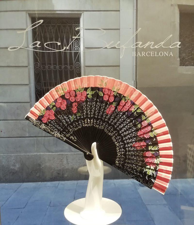 Malvi-handmade-fan-handpainted-flowes-red
