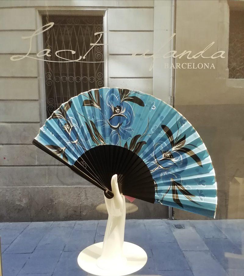 Malvi-handmade-fan-handpainted-flowes-silk