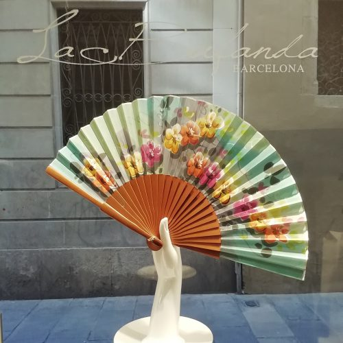 Malvi-handmade-fan-handpainted-flowes-silk-naturalwood