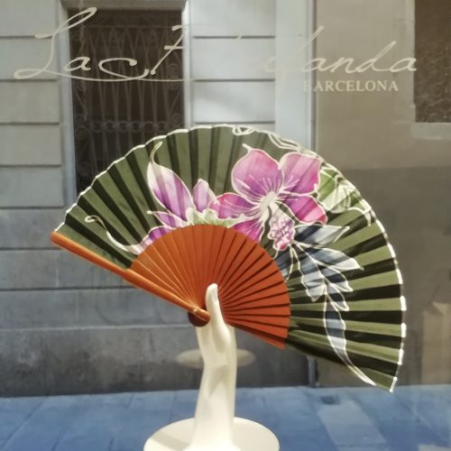 Malvi-handmade-fan-handpainted-flowes-silk-wood