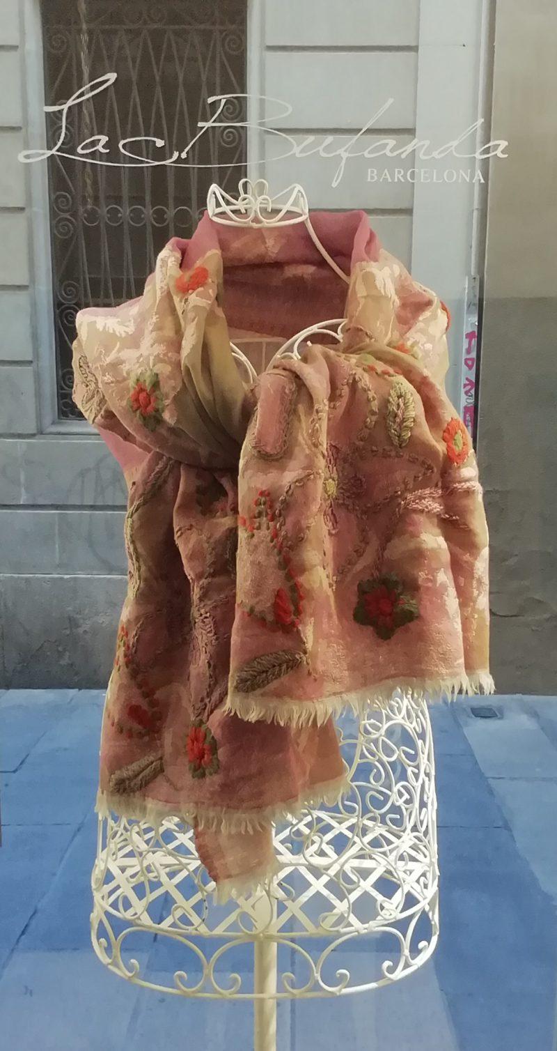 pink-orange-merino-scarf-hand-enbroidery
